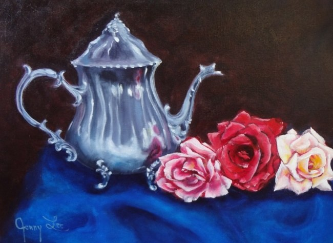 Silver Teapot and Roses
