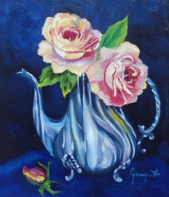 Roses in a Silver Teapot