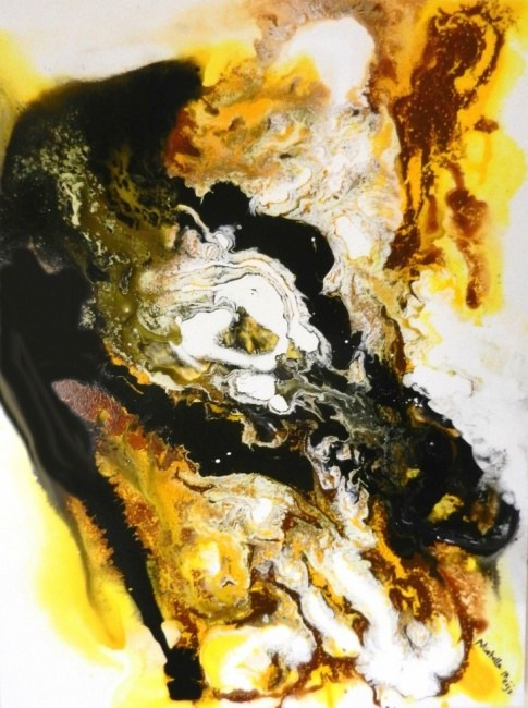 Gold Black Abstract Painting