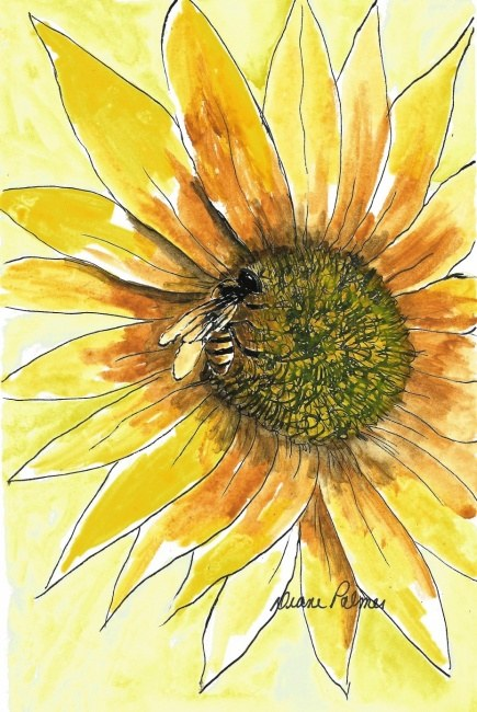 Honey Bee and Flower - Ink and Watercolor Painting