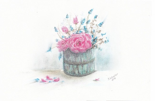 Pink and blue flowers blossom painting art print yulia schuster pink and blue mightylinksfo