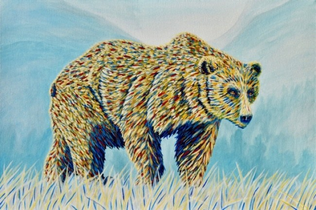 Colorful Bear in the Grass