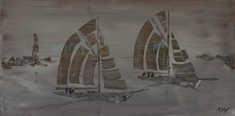 Abstract sail boats