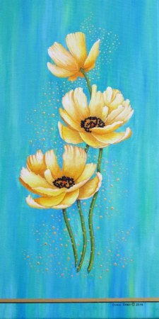 Three Yellow Poppies With Pixie Dust