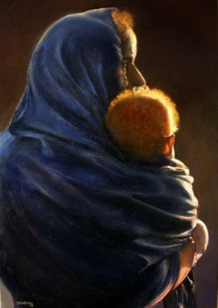 Woman with child at sunset