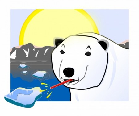 Global  Warming - Polar Bear with Thermometer