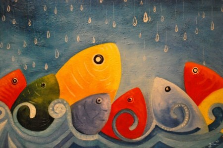 Fish welcoming the rain