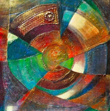 Abstract circular mixed media painting