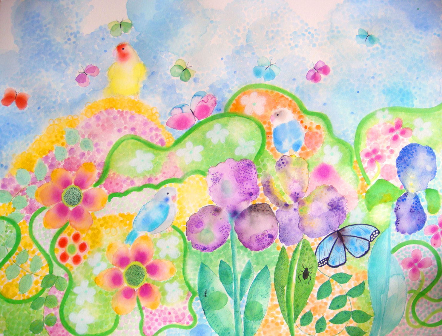 Original watercolor spring 2010 flowers and blue sky for Spring flowers watercolor