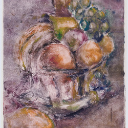 Fruit still life monotype