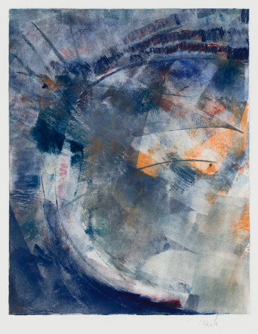 Modern abstract monotype painting