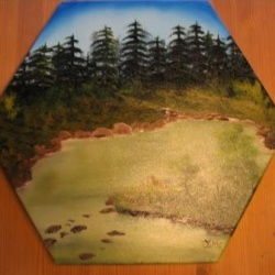 Forest in Greens on hexagon