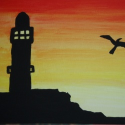 Lighthouse in Sunset with Bird
