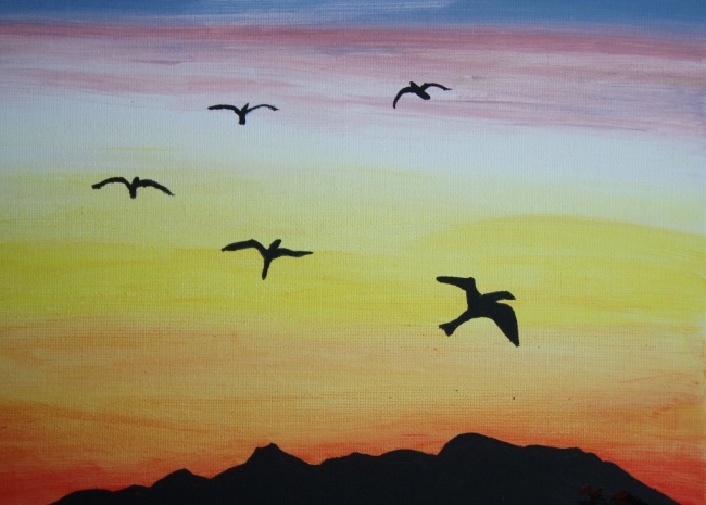 Birds in Silhuette Flying in Sunset SOLD