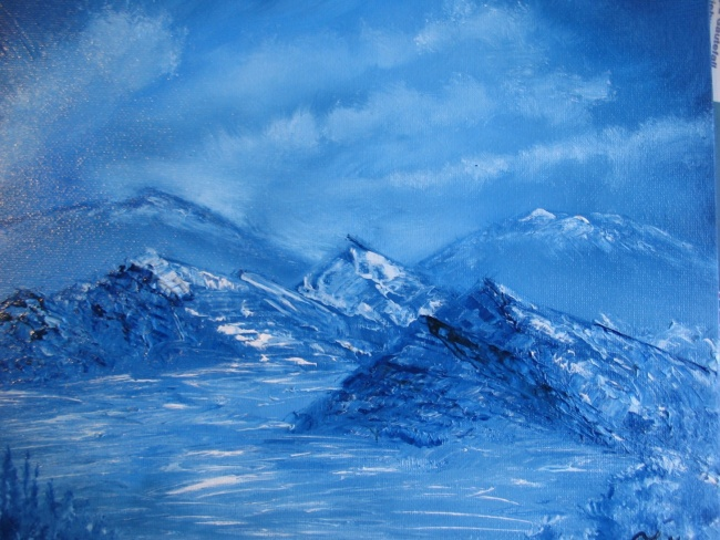 Blue Winter series 6 - Mountainous landscape