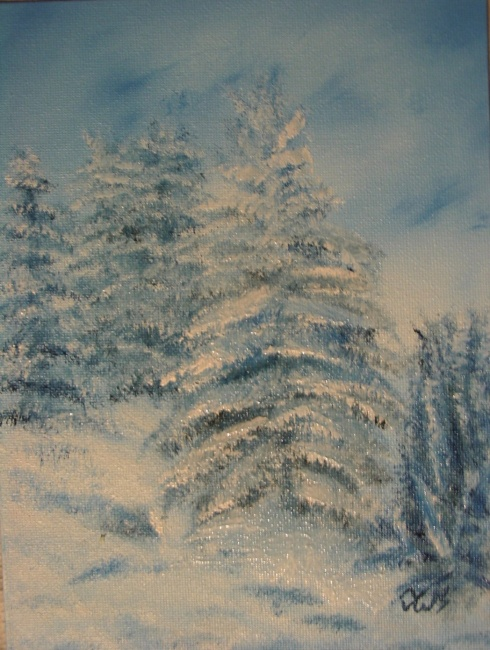 Blue Winter series 7 - Trees Outside my Door - SOLD to Athen