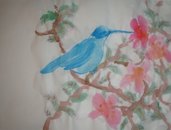 Blue hummingbird with red flowers in ink