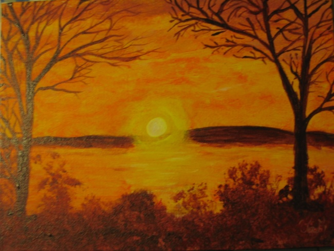 Warm Landscape - Trees in Sunset SOLD