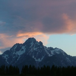Mt.  Moran at Stormy Sunset in Tetons
