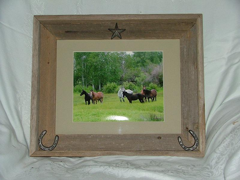 idaho horses in rustic barnwood custom frame