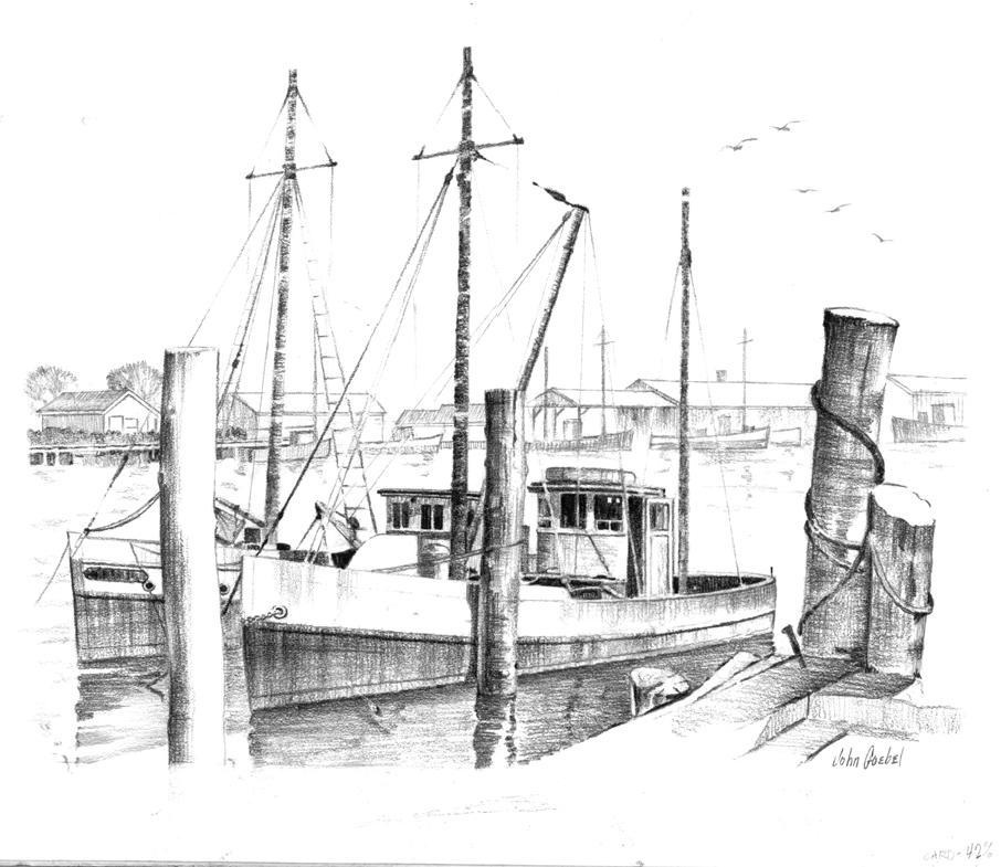 Fishing Boats Drawings Fishing Boats Boats at Anchor