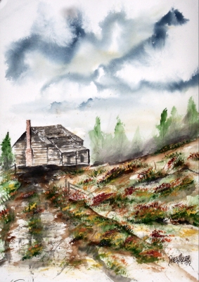 Barn and Flowers Original Landscape Painting