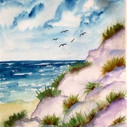 Dunes beach seascape watercolor poster print