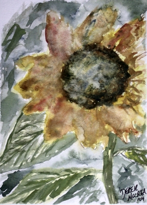 Rustic Sunflower Flower Painting Poster Print