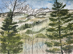 Teton Range Rocky Mountains landscape painting