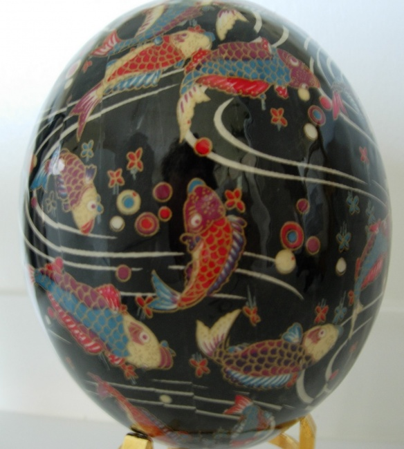Coy swimming in River - Washi on Ostrich Egg