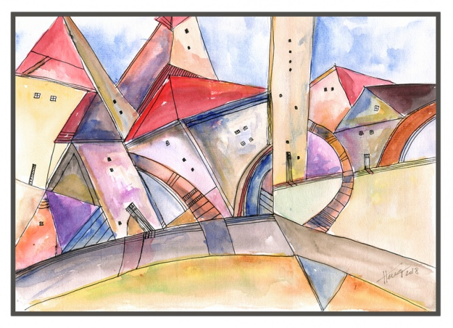 Houses on the lane - original watercolor painting