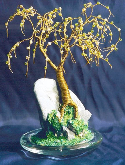 Beaded on Rock - Wire Tree Sculpture