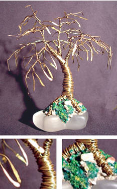 Bonsai with Leaves - Mini Wire Tree Sculpture, by Sal Villan