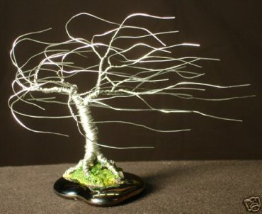 Small Wind Swept, wire tree sculpture
