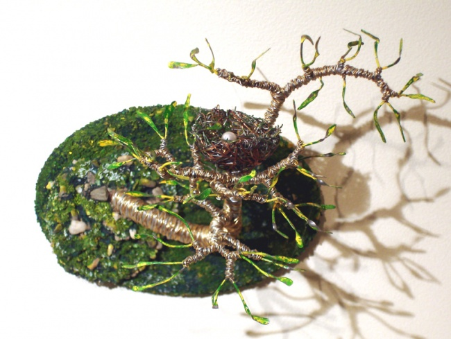 Bird Nest #7 - Wire Sculpture, by Sal Villano