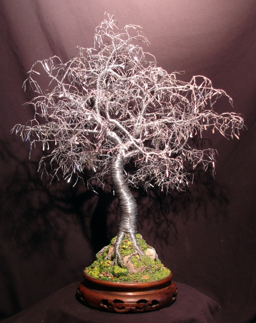 Bonsai with Hammered Leaves, wire tree sculpture - by Sal Vi