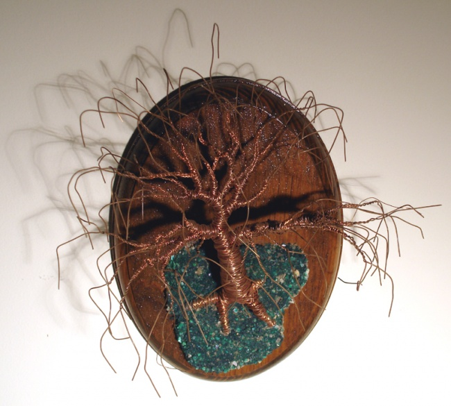 Oak on Oval Base - Wall Art Sculpture, by Sal Villano