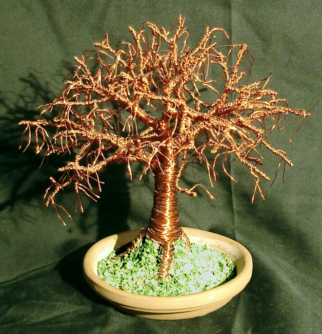 Elm on Terra Cotta Base Wire Tree Sculpture