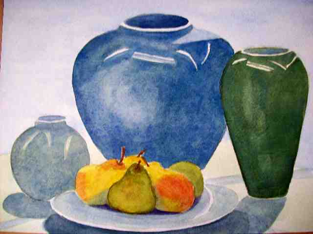 Still Life Vases And Pears Watercolour Painting Rebecca Milne