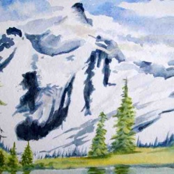 Avalanch Rocky Mountains landscape watercolor painting