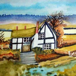 Farm cottage watercolor painting