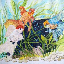 Goldfish meet watercolor painting