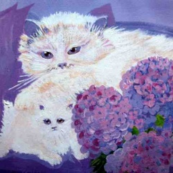 Persian cat with kitten oil painting