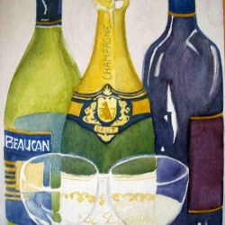 Wine Tasting watercolour painting still life