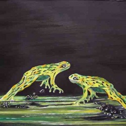 Frogs leaping oil painting