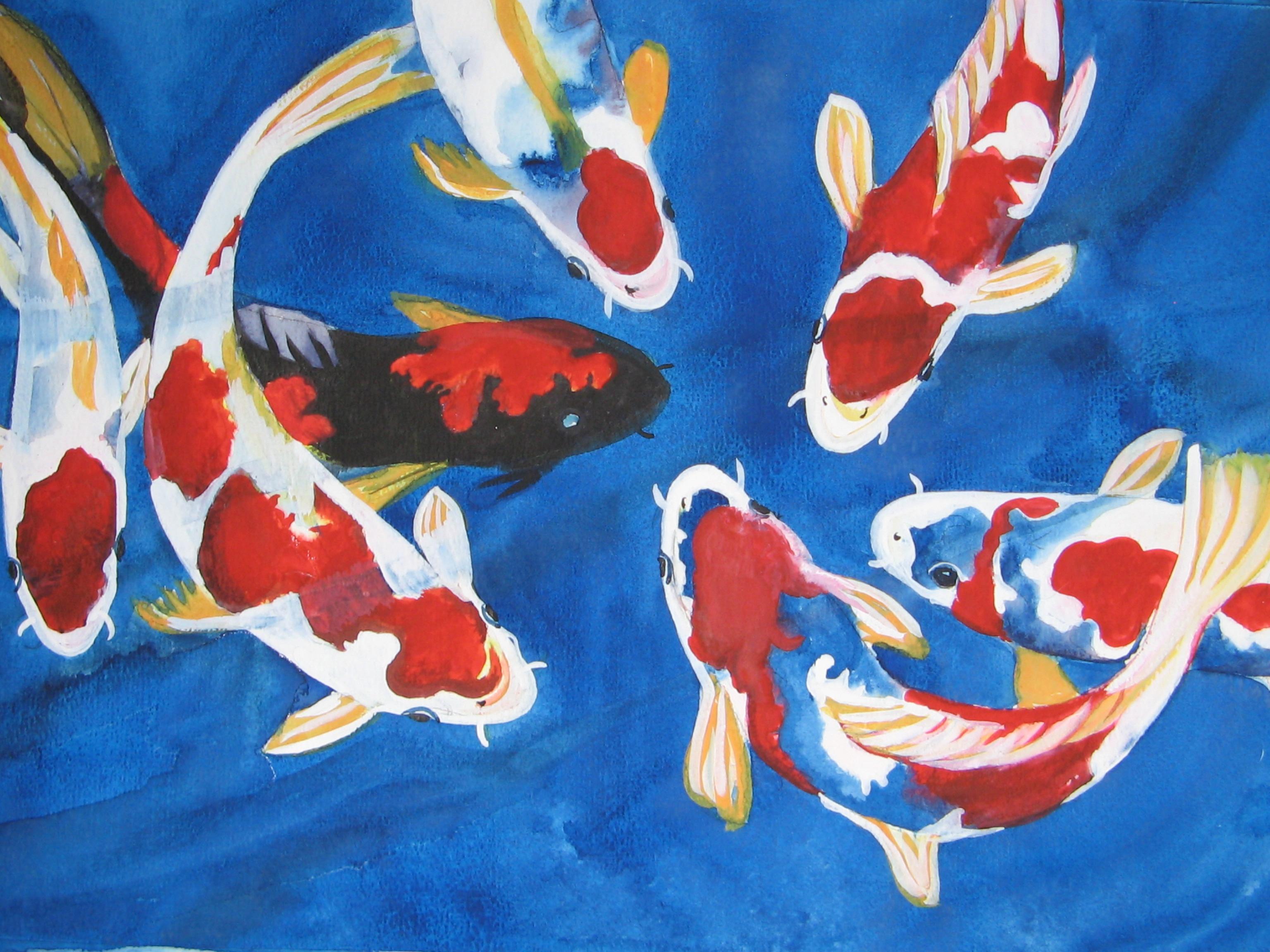 Koi carp in blue rebecca milne foundmyself for Koi carp artwork