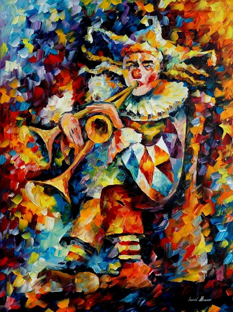 Original Oil Painting Of Leonid Afremov Clown