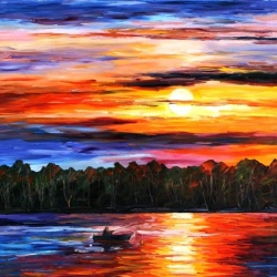 FISHING BY THE SUNSET limited edition giclee of L.AFREMOV pa