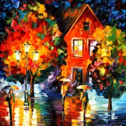 MIDNIGHT RAIN limited edition giclee of L.AFREMOV painting