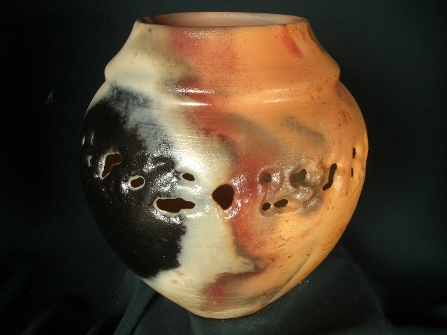 RICHLY EARTHTONED  PITFIRE-ONLY  COLLAR VASE DREXEL POTTERY